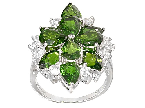 Photo of 6.90ctw Pear Shape Russian Chrome Diopside With 1.16ctw Round White Zircon Sterling Silver Ring - Size 4