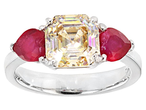 Photo of 3.23ctw Asscher Cut Fabulite Strontium Titanate with 1.18ctw Mahaleo® Ruby Silver Ring - Size 12