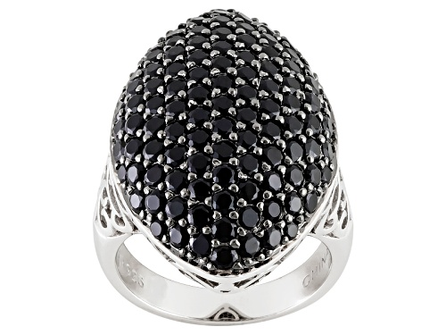 Photo of 4.11ctw Round Black Spinel Sterling Silver Ring - Size 5