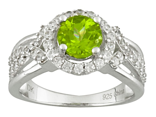 Photo of 1.20ct Round Manchurian Peridot™ With .84ctw Round White Zircon Sterling Silver Ring - Size 11