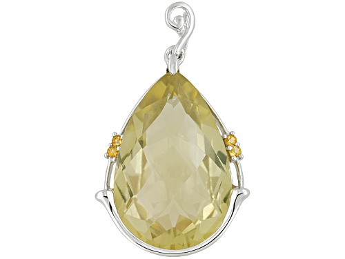 30.00ct Pear Shape Canary Yellow Quartz With .12ctw Citrine Sterling Silver Pendant