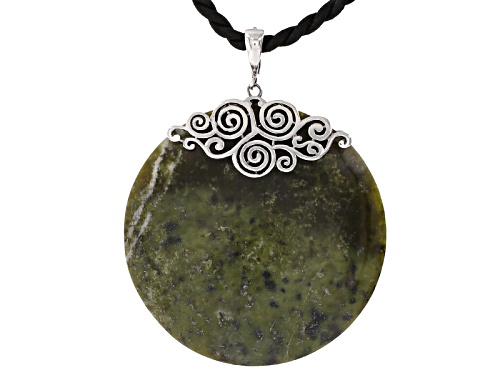 Photo of Artisan Collection Of Ireland™ 53mm Round Cabochon Connemara Marble Silver Enhancer With cord