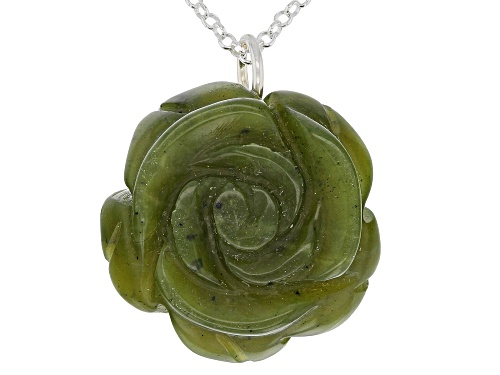 Photo of Artisan Collection Of Ireland™ 20mm Carved Connemara Marble Rose Silver Pendant With Chain