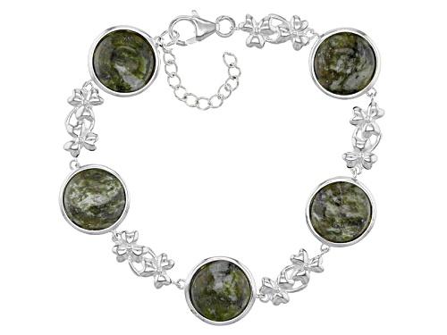 Photo of Artisan Collection Of Ireland™ 12mm Round Connemara Marble Station Silver Shamrock Bracelet - Size 8