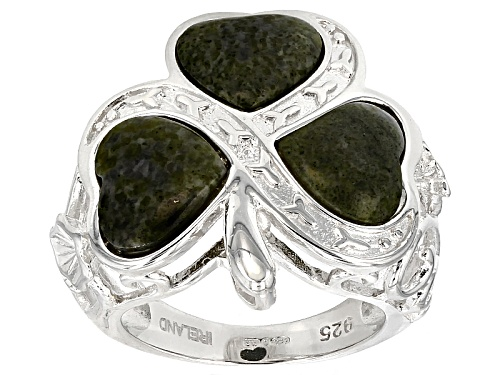 Photo of Artisan Collection Of Ireland™ 4x4mm Heart Shape Connemara Marble Silver 3-Stone Shamrock Ring - Size 12
