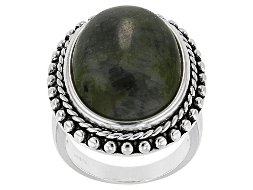Photo of Artisan Collection Of Ireland™ 20x15mm Oval Cabochon Connemara Marble Solitaire Silver Ring - Size 5