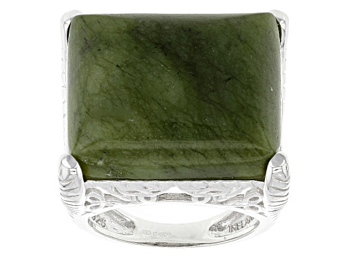 Photo of Artisan Collection Of Ireland™ 21x18mm Rectangular Connemara Marble Silver Solitaire Ring - Size 5