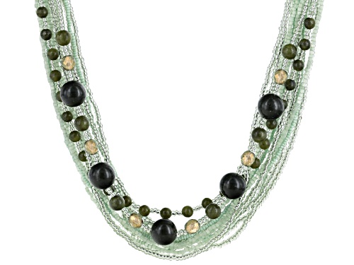 Photo of Artisan Collection Of Ireland™ Connemara Marble Bead And Seed Bead Silver Tone Brass Necklace - Size 18