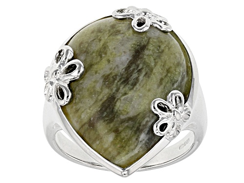 Photo of Artisan Collection Of Ireland™ 25x20mm Pear Shape Connemara Marble Silver Floral Solitaire Ring - Size 5