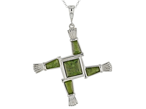 Photo of Artisan Collection of Ireland™  Connemara Marble Silver St. Brigid's Cross Enhancer With Chain