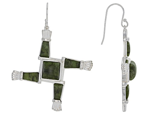 Photo of Artisan Collection of Ireland™  Connemara Marble Silver St. Brigid's Cross Dangle Earrings