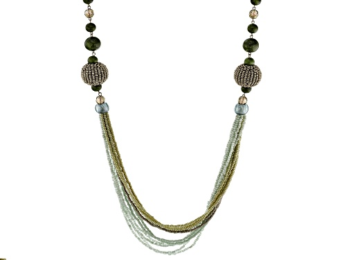Photo of Artisan Collection of Ireland™ Connemara Marble, Glass Bead, Seed Bead Silver Tone Brass Necklace - Size 28