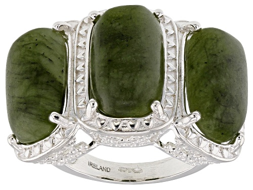 Photo of Artisan Collection Of Ireland™ 15x9mm Rectangular Cushion Connemara Marble Silver Ring - Size 6