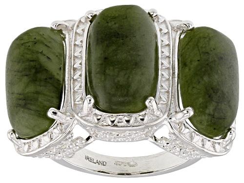Photo of Artisan Collection Of Ireland™ 15x9mm Rectangular Cushion Connemara Marble Silver Ring - Size 5