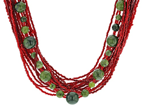 Photo of Artisan Collection of Ireland™ Connemara Marble, and Red Glass Seed Bead, Brass Necklace - Size 18