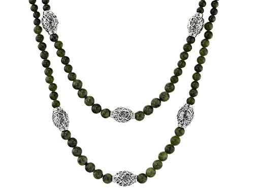 Photo of Artisan Collection of Ireland™ 5-7mm Connemara Marble & Silver Celtic Bead Double Strand Necklace - Size 16