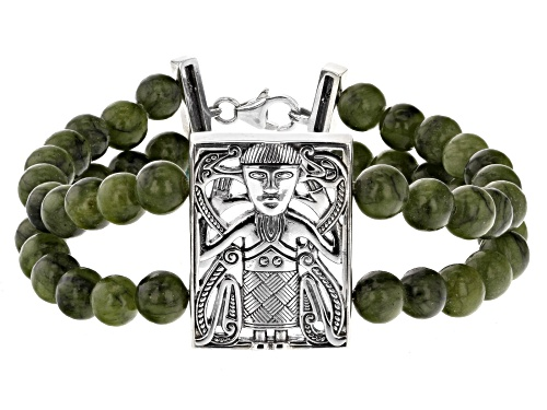 Photo of Artisan Collection of Ireland™7mm Round Connemara Marble Bead Silver Viking Man 2-Strand Bracelet - Size 8