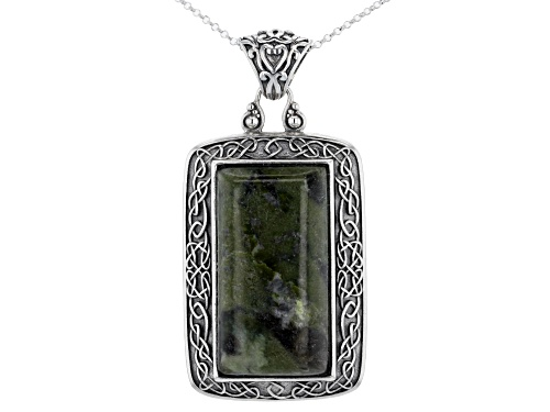 Photo of Artisan Collection of Ireland™ 34x18mm Connemara Marble Cabochon Silver Celtic Pendant With Chain