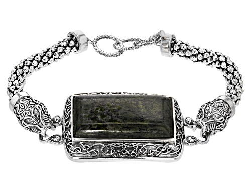 Photo of Artisan Collection of Ireland™ 34x18mm Connemara Marble Viking Dragon Head Silver Bracelet - Size 8