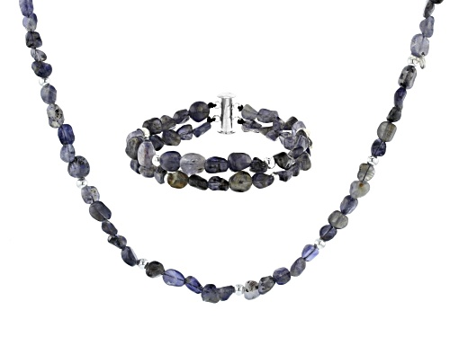 Photo of Artisan Collection of Ireland™ Free Form Iolite Nugget Silver Bead Necklace and Bracelet Set