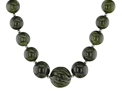Photo of Artisan Collection of Ireland™ 6-19mm & Carved 24.50mm Round Connemara Marble Silver Bead Necklace - Size 22