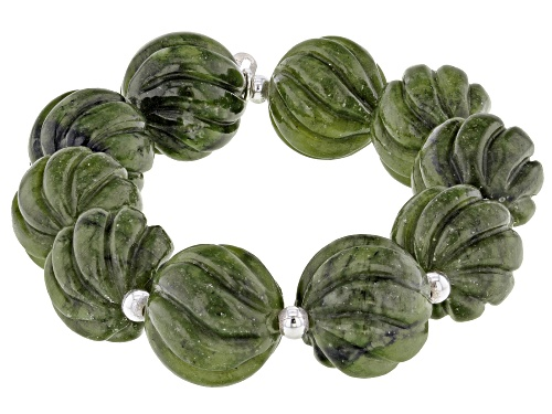 Photo of Artisan Collection of Ireland™ 17.50mm Round Carved Connemara Marble Silver Bead Stretch Bracelet