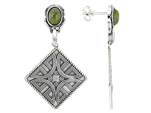 Photo of Artisan Collection of Ireland™ Connemara Marble With Celtic Design Sterling Silver Dangle Earrings.
