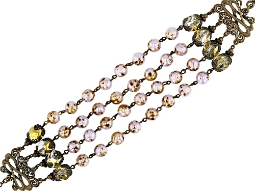 Photo of Artisan Collection of Ireland™ 8mm Pink & 9.5mm Bronze Tone Glass Bead New Castleton Bracelet - Size 8