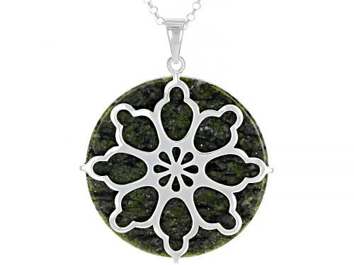 Photo of Artisan Collection Of Ireland™ 30mm Round Connemara Marble Sterling Silver Pendant With Chain