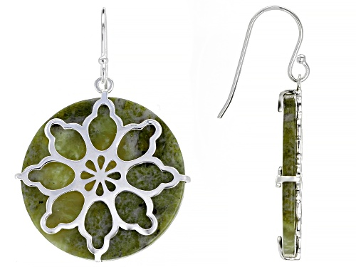 Photo of Artisan Collection Of Ireland™ 25mm Round Connemara Marble Sterling Silver Overlay Earrings