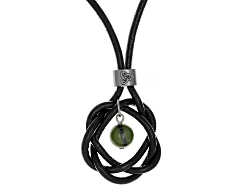 Photo of Artisan Collection Of Ireland™ Connemara Marble Bead Imitation Leather Cord Celtic Knot Necklace - Size 17