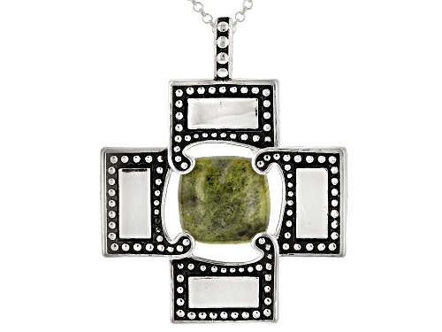 """Photo of Artisan Collection Of Ireland™ 11mm Square Connemara Marble Silver Provence Pendant With 24"""" Chain"""