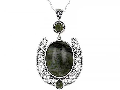 "Photo of Artisan Collection Of Ireland™ Connemara Marble Silver Irish Lace Drop Pendant With 24"" Chain"