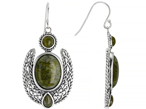 Photo of Artisan Collection Of Ireland™ Mixed Shapes Connemara Marble Silver Irish Lace Dangle Earrings