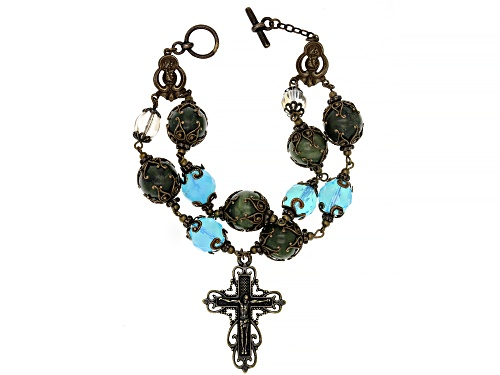 Photo of Artisan Collection Of Ireland™ Connemara Marble And Glass Bead Brass Rosary Style Bracelet - Size 9