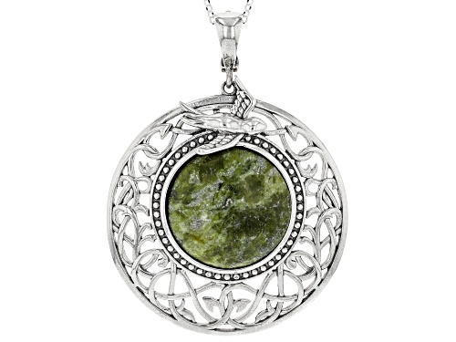 Photo of Artisan Collection of Ireland™ 20mm Connemara Marble Sterling Silver Pendant With Chain