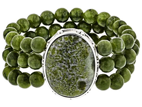 Photo of Artisan Collection of Ireland™ Oval And Round Connemara Marble Stretch Bead Bracelet