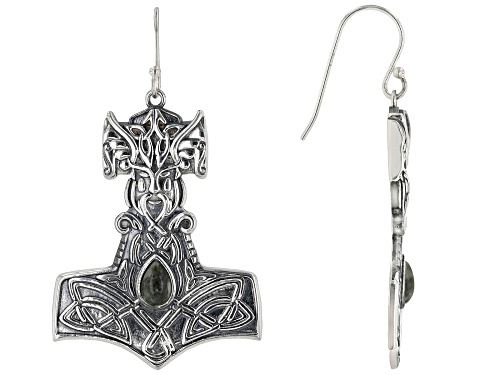 Photo of Artisan Collection of Ireland™ Pear Shape Connemara Marble Sterling Silver Viking Hammer Earrings