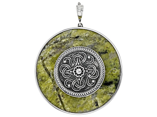 Photo of Artisan Collection of Ireland™ Round Connemara Marble Sterling Silver Viking Shield Enhancer