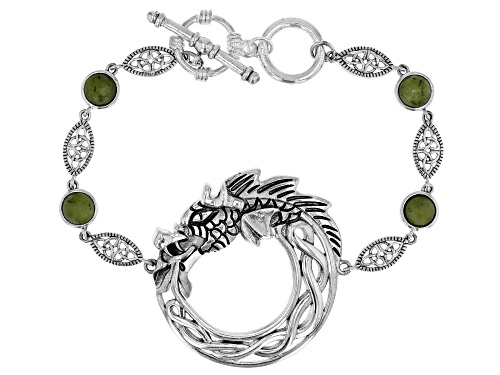 Photo of Artisan Collection Of Ireland™ 5mm Round Connemara Marble, Silver Viking Dragon Circle Bracelet - Size 7.25