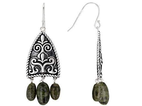 Photo of Artisan Collection of Ireland™ Connemara Marble Bead Sterling Silver 3-Stone Dangle Earrings