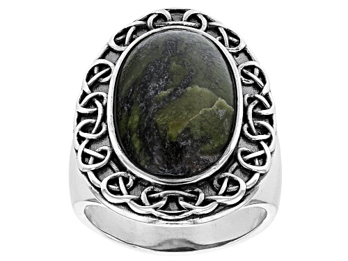 Photo of Artisan Collection Of Ireland™ 20X12mm Oval Connemara Marble Sterling Silver Celtic Ring - Size 9