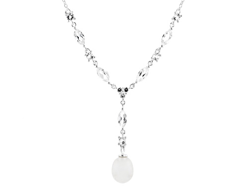 Photo of Artisan Collection Of Ireland™ 2.26ctw White Topaz with Cultured Freshwater Pearl Silver Necklace - Size 17.5