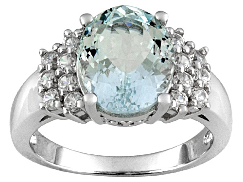 Photo of 2.85ct Oval Altai Aquamarine ™ With .90ctw Round White Zircon Sterling Silver Ring - Size 12