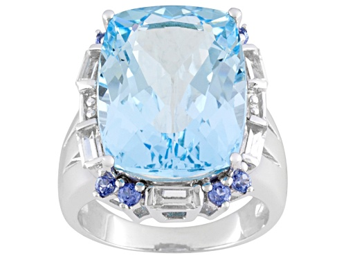 Photo of 18.20ct Glacier Topaz ™ With .36ctw Tanzanite And .90ctw White Topaz Sterling Silver Ring - Size 4