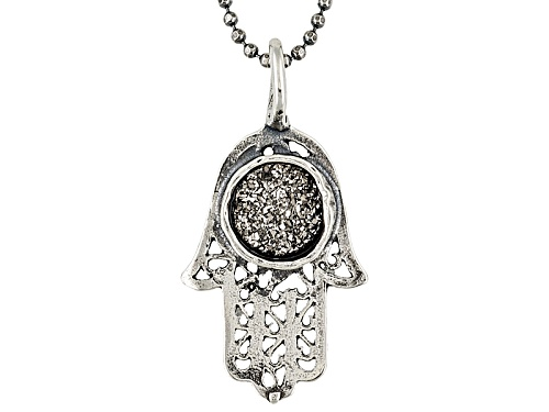 Photo of Artisan Collection Of Israel™ Platinum Color Drusy Quartz Sterling Hamsa Pendant With Chain