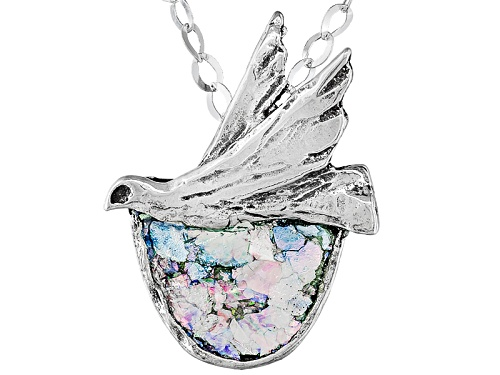 Photo of Artisan Collection Of Israel™ Man Made Roman Glass Sterling Silver Dove Pendant With Chain