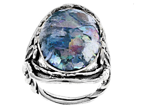 Photo of Artisan Collection Of Israel™ 25x14mm Oval Cabochon Man Made Roman Glass Silver Solitaire Ring - Size 6