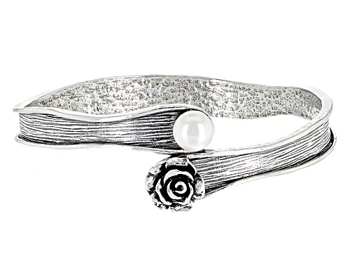 Photo of Artisan Collection Of Israel™ Round Cultured White Freshwater Pearl Silver Bypass Bangle Bracelet