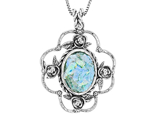 Photo of Artisan Collection Of Israel™ 18x13mm Man Made Roman Glass Silver Solitaire Pendant With Chain